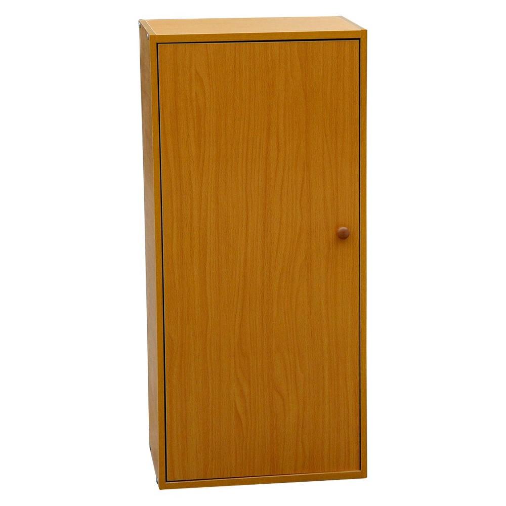 """Image of """"35.5"""""""" 3 Tier Adjustable Book Shelf with Door Tan Wood - Ore International, Brown"""""""