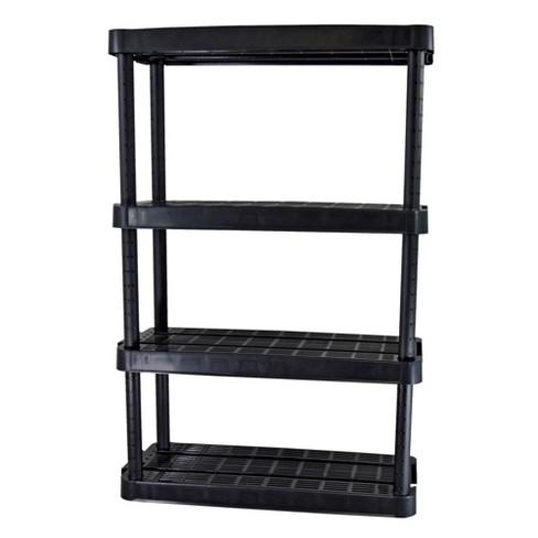 "Gracious Living 14"" x 32"" x 54.5"" 4-Shelf Tier Resin Multi-Purpose Medium Duty Indoor Garage Storage Organizer Shelves, Black - image 1 of 3"