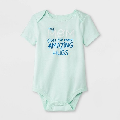 Baby Girls' Short Sleeve  MOM Gives the Amazing Hugs  Bodysuit - Cat & Jack™ Mint Green Newborn