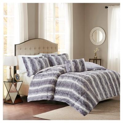 Gray Marselle Brushed Faux Fur Comforter Set (King)