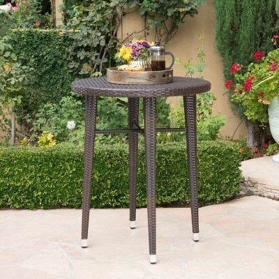 Dominica Round Wicker Bar Table - Brown - Christopher Knight Home