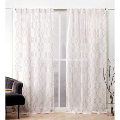 Soft Trellis Hidden Tab Top Curtain Panel Pair - Nicole Miller