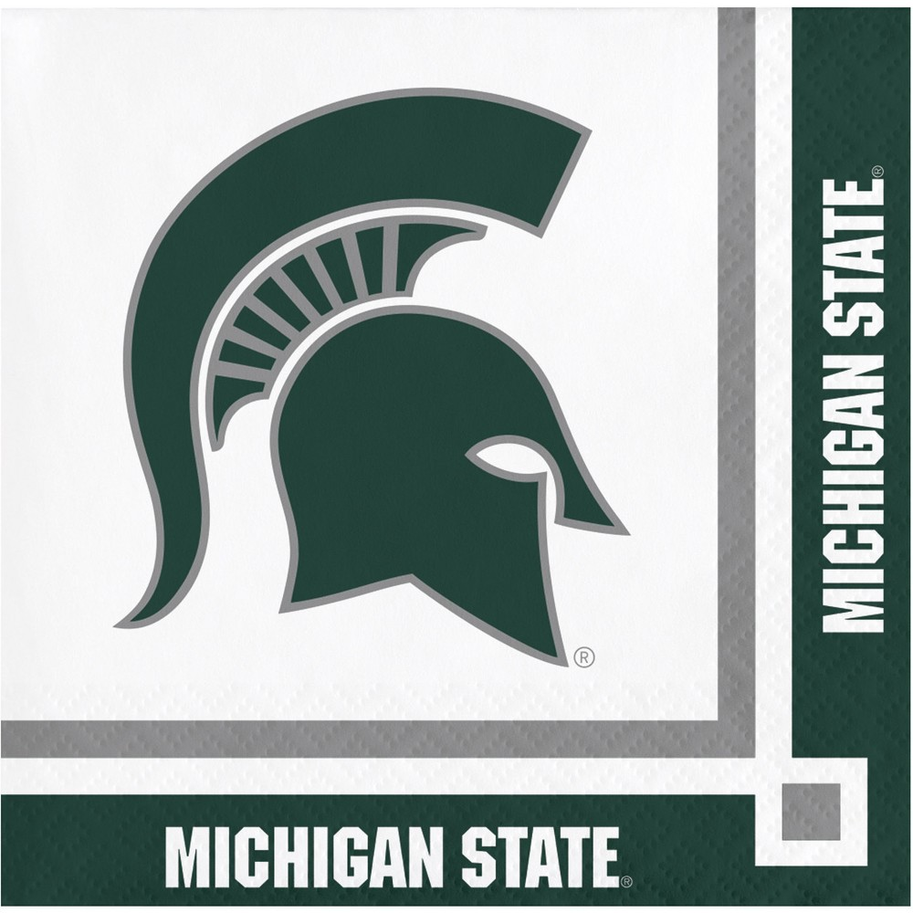 Image of 20ct Michigan State Spartans University Cocktail Beverage Napkins