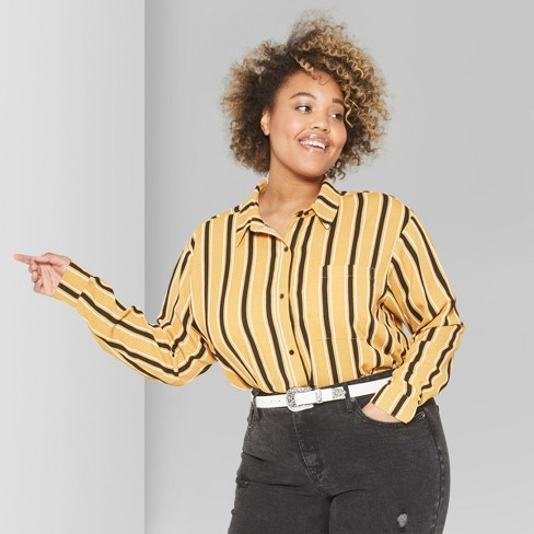 9af0000c45aef6 Women s Plus Size Striped Long Sleeve Tie Front Button-Down Shirt - Wild  Fable™