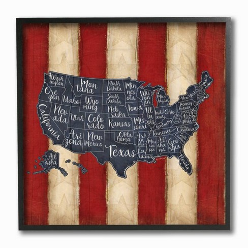 """12'x1.5""""x12"""" United States Map Red White Blue Framed Giclee Texturized Art - Stupell Industries - image 1 of 1"""