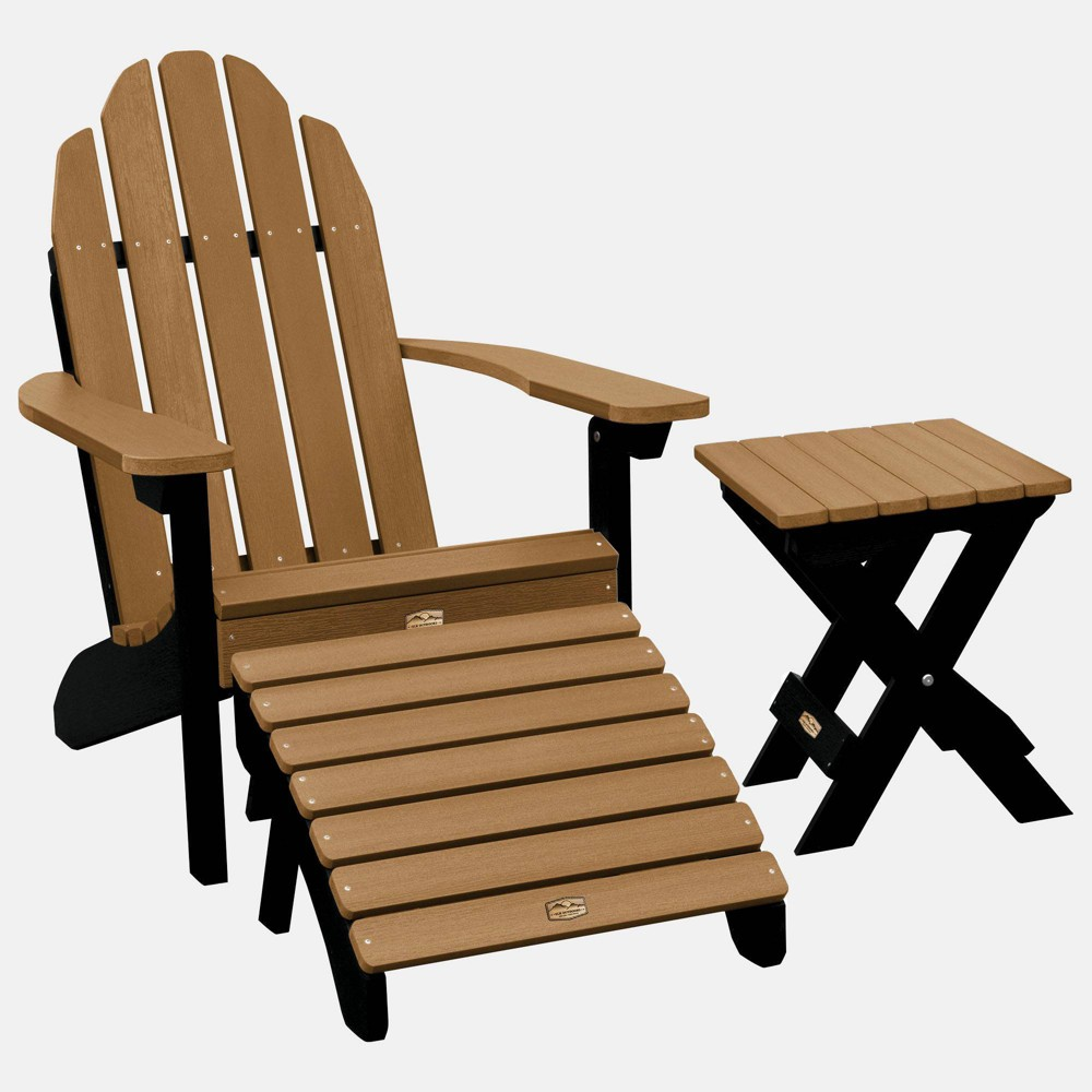 Image of Essential Adirondack Patio Chair with Ottoman & Side Table Caribou Brown - highwood