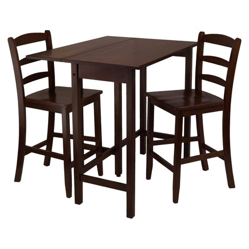 Lynnwood 3pc Drop Leaf High Table with 2 Counter Ladder Back Stool/Chair - Antique Walnut - Winsome - image 1 of 3