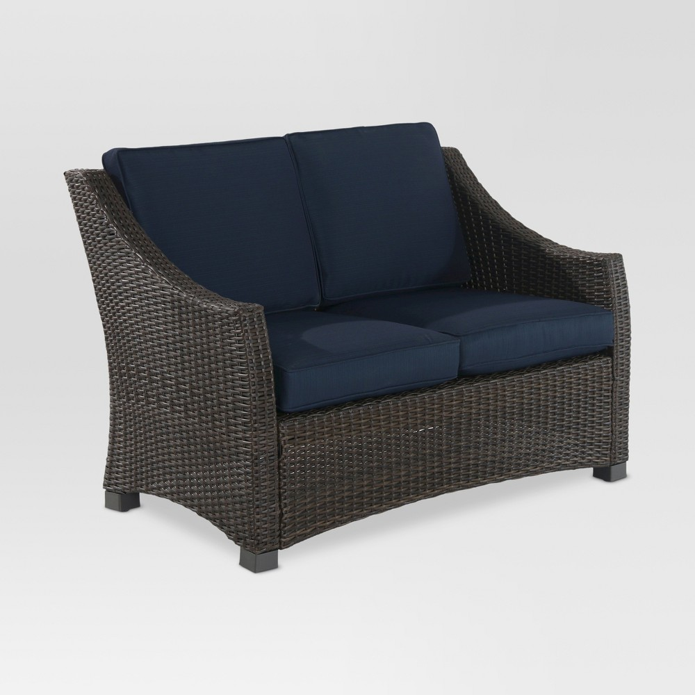 Belvedere Wicker Patio Loveseat - Navy - Threshold