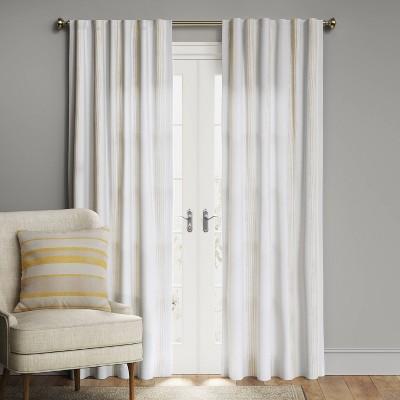 "63""x50"" Block Striped Blackout Window Curtain Panel White/Beige - Threshold™"