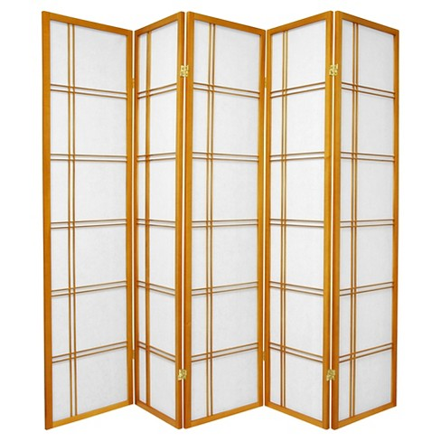 6 ft. Tall Double Cross Shoji Screen - Honey (5 Panels) - image 1 of 1
