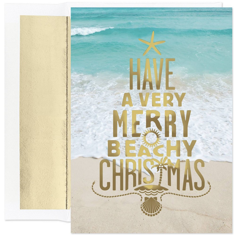 Image of 18ct Merry Beachy Christmas Greeting Cards - Masterpiece Studio