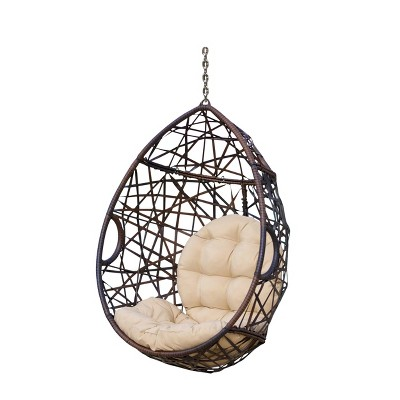 Cayuse Wicker Tear Drop Hanging Chair - Brown/Tan - Christopher Knight Home