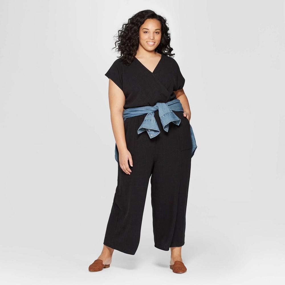 Women's Plus Size Short Sleeve V-Neck Jumpsuit - Universal Thread Black 1X