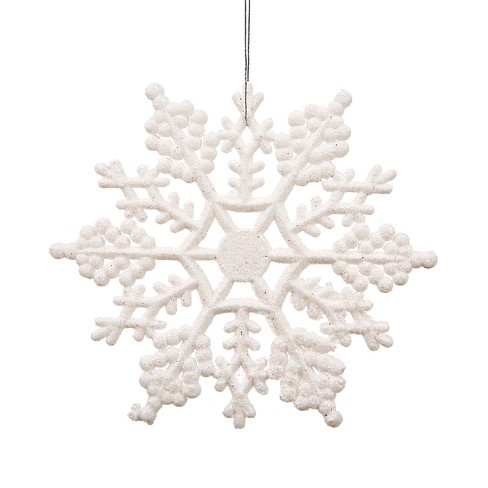 "Northlight 24ct Glitter Snowflake Christmas Ornament Set 4"" - White - image 1 of 2"