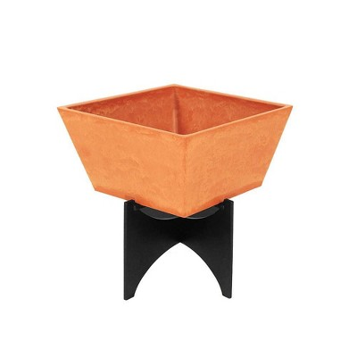 Small Modern Zaha Wood and Stone Planter with Stand Terra Cotta Finish - Achla Designs