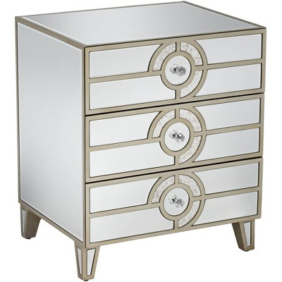 "Studio 55D Janine 21 1/2"" Wide Mirrored  3-Drawer Art Deco Side Table"