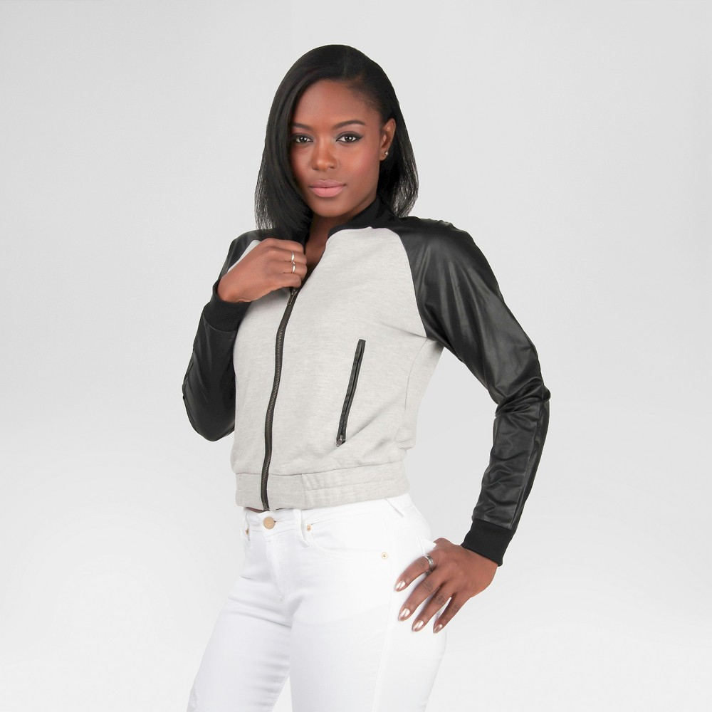 Women's Poetic Justice Vegan Leather French Terry Bomber Jacket - Heather Gray L, Multicolored
