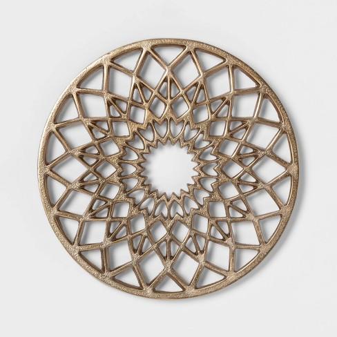 "Cravings by Chrissy Teigen 8.5"" Round Aluminum Trivet - Gold - image 1 of 3"