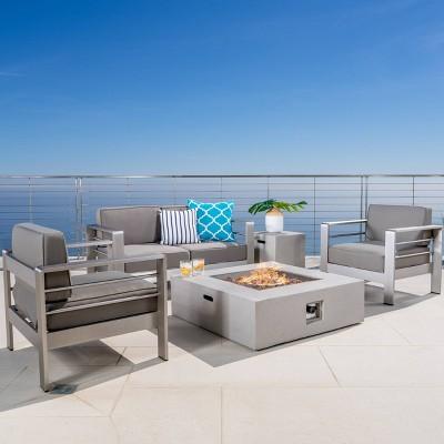 Cape Coral 5pc Aluminum & MGO Square Fire Table Set Khaki - Christopher Knight Home