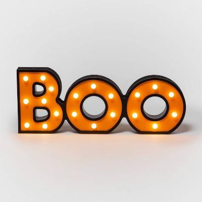 """Boo"" Halloween Wood Bulb Light - Hyde & EEK! Boutique™"