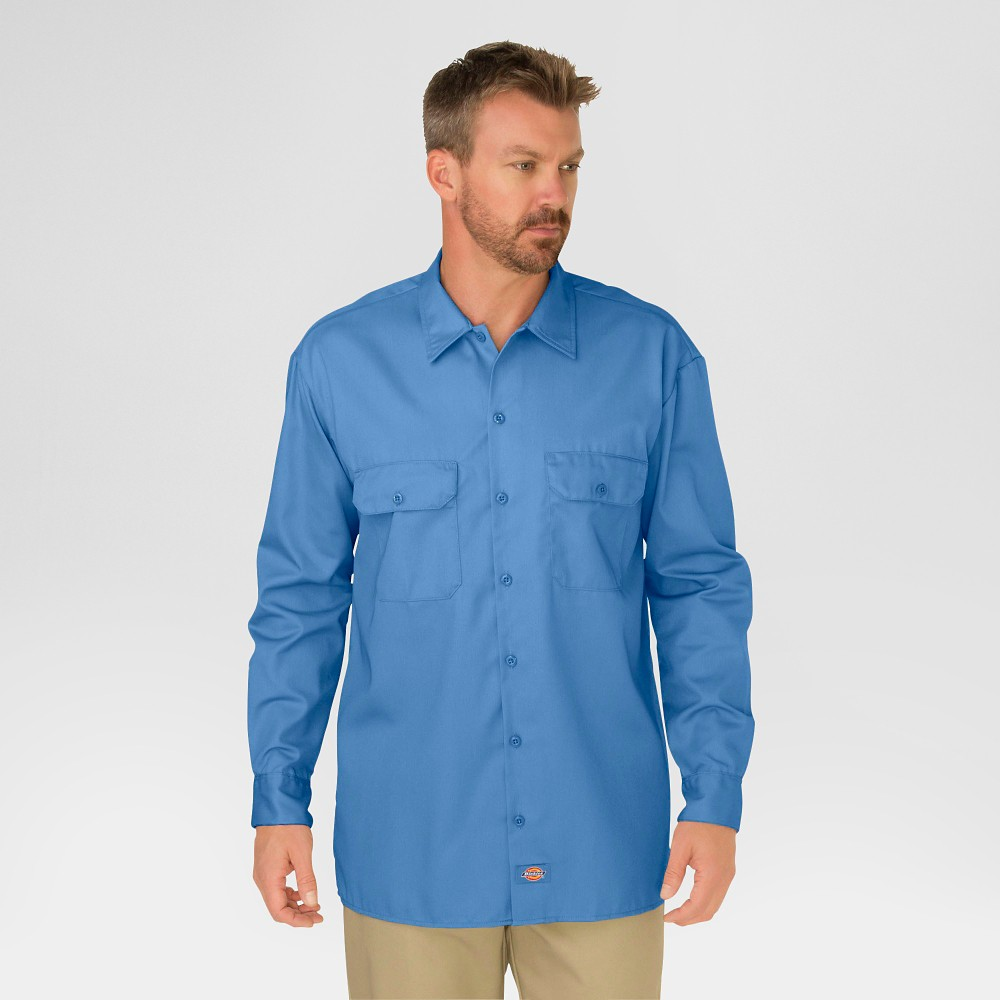 Best Online Dickies Men Big Tall Original Fit Long Sleeve Twill Work Shirt Gulf Blue M Tall Size MT