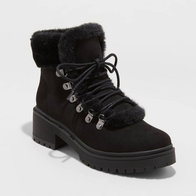 Women's Betsy Faux Fur Hiking Boots - A New Day™