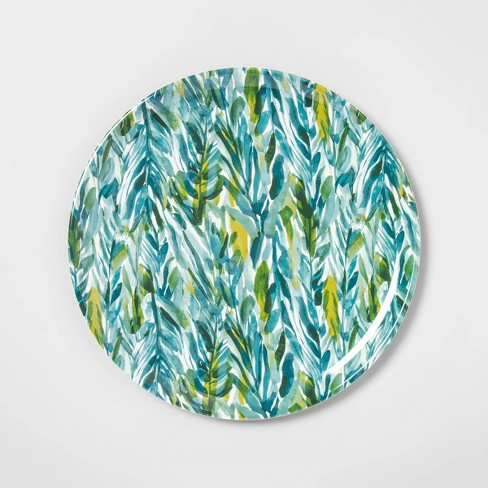 """14"""" Melamine Watercolor Leaves Serving Tray Green - Opalhouse™ - image 1 of 2"""