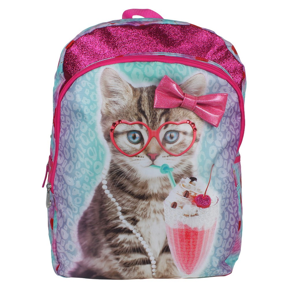 Image of Accessory Innovation 16 Cat With Cherry Backpack - Pink, Pink/Blue