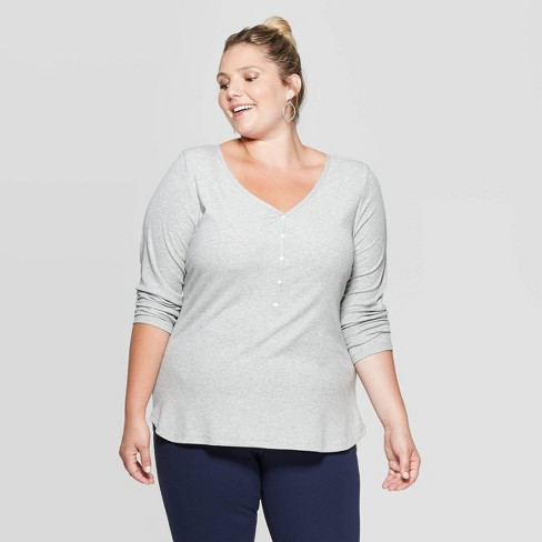 Women's Plus Size Long Sleeve V-Neck Rib Knit Henley T-Shirt - Ava & Viv™ - image 1 of 2