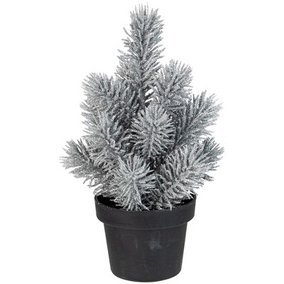 "Northlight 8.5"" Silver Potted Glittered Artificial Mini Pine Christmas Tree - Unlit"