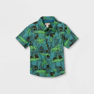 Toddler Boys' Dino Print Challis Woven Short Sleeve Button-Down Shirt - Cat & Jack™ Blue
