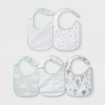 Baby Boys' 5pk Clouds Bib Set - Cloud Island™ White