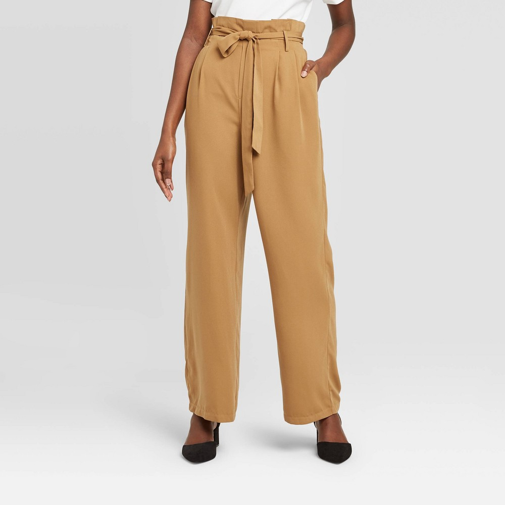 Women's High-Rise Ankle Length Paperbag Pants - A New Day Brown L was $27.99 now $19.59 (30.0% off)