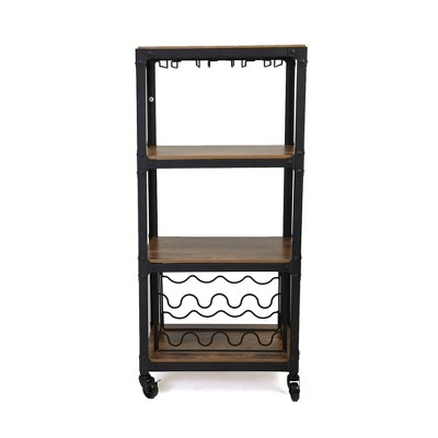 Mind Reader Rolling 4-Tier Bar Cart with Wine Rack and Wine Glasses Storage