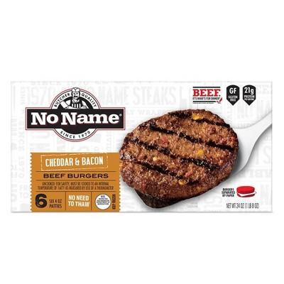 No Name Bacon Cheddar Burgers - Frozen - 24oz/6ct