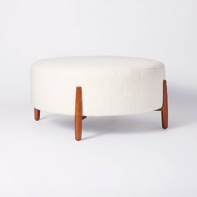 Elroy Sherpa Round Cocktail Ottoman with Wood Legs Cream - Threshold™ designed with Studio McGee