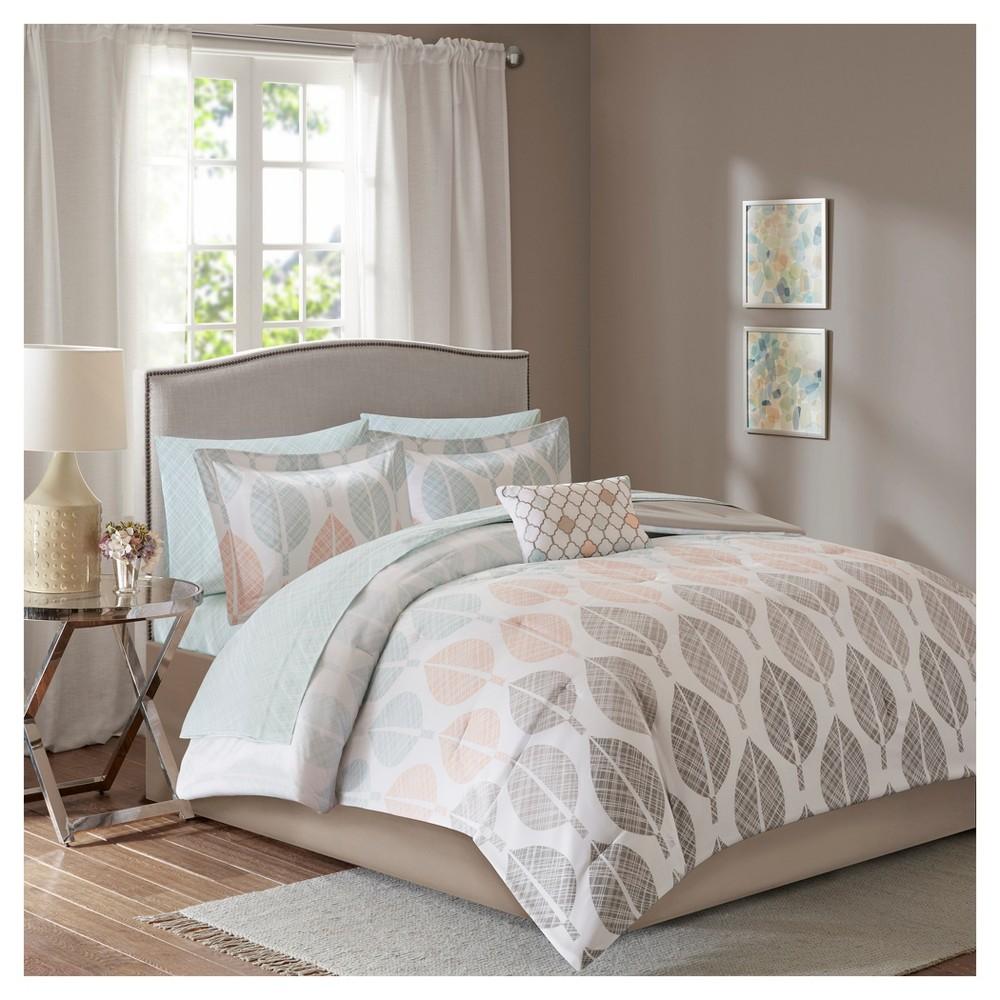 Coral & Green Prospect Park Complete Comforter Set (King)