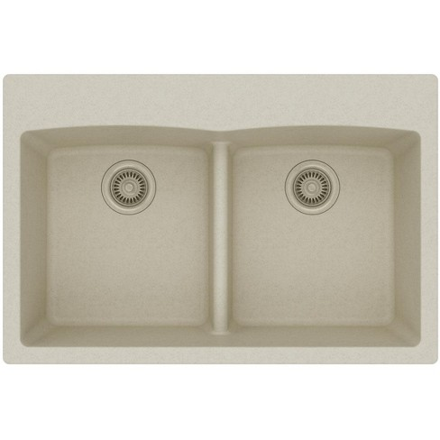 Elkay Elgdlb3322 Gourmet 33 Double Basin Granite Composite Kitchen Sink For Drop In Installations