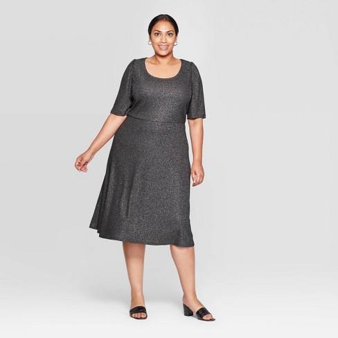 Women\'s Plus Size Elbow Sleeve U-Neck Knit A Line Midi Dress - Who What  Wear™ Silver