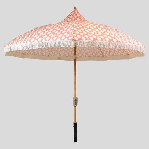9 Lemons Carousel Patio Umbrella Coral White Fringe Light Wood
