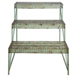 "26"" X20"" X 30"" Industrial Heritage Design Rectangle tager With 3 Shelves - Green - Esschert Design"
