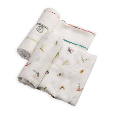 Little Unicorn Deluxe Cotton Muslin Swaddle Blankets - Gone Fishing