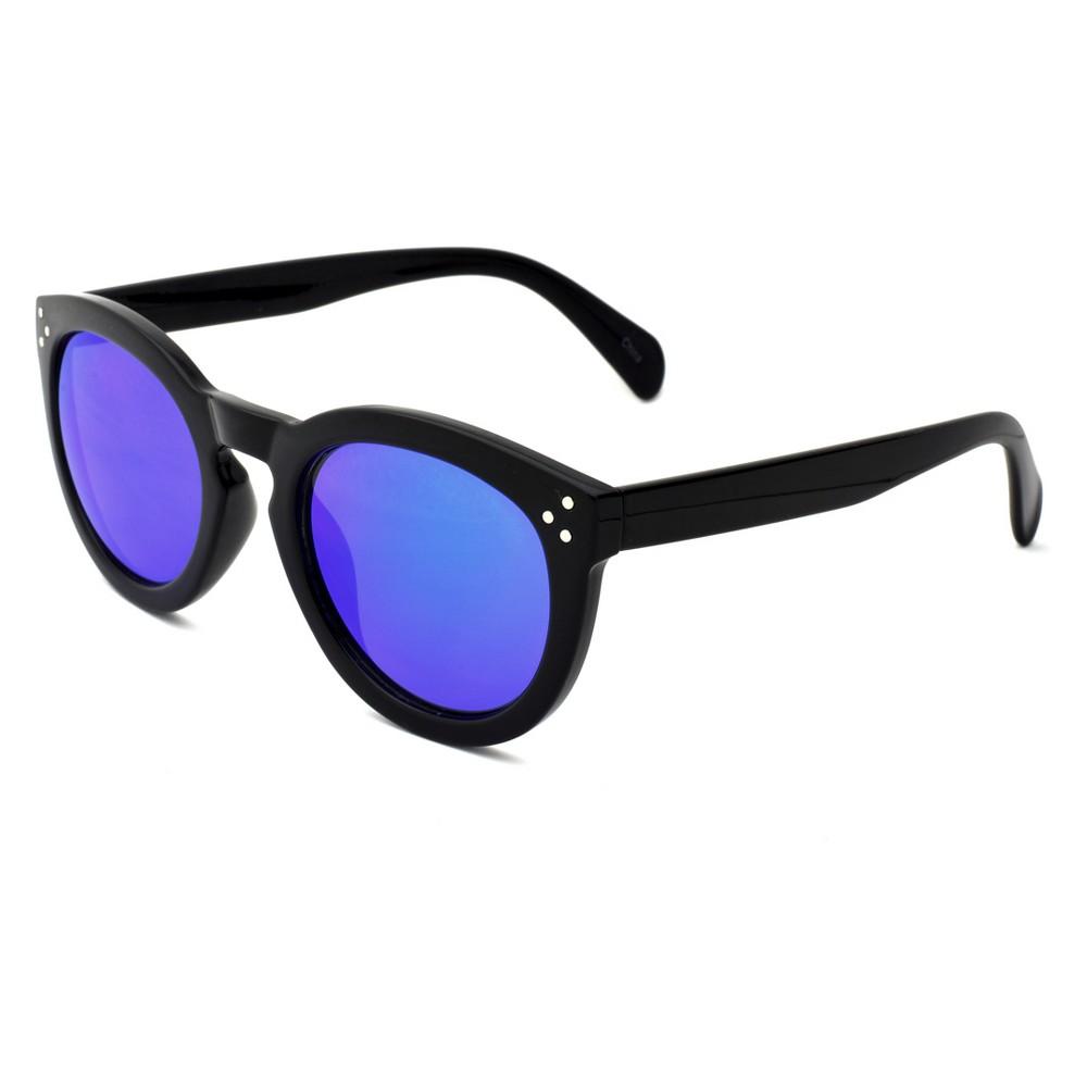 Women's Round Sunglasses with Indigo Mirror Lens - Wild Fable Black