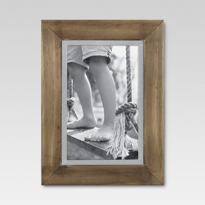 "4"" x 6"" Wood with Metal Edge Frame Brown - Threshold™"