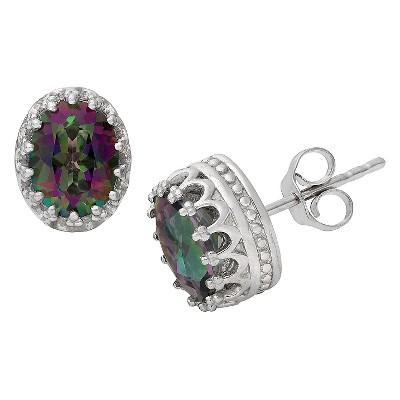2 3/7 TCW Tiara Sterling Silver Oval-Cut Rainbow Topaz Crown Stud Earrings