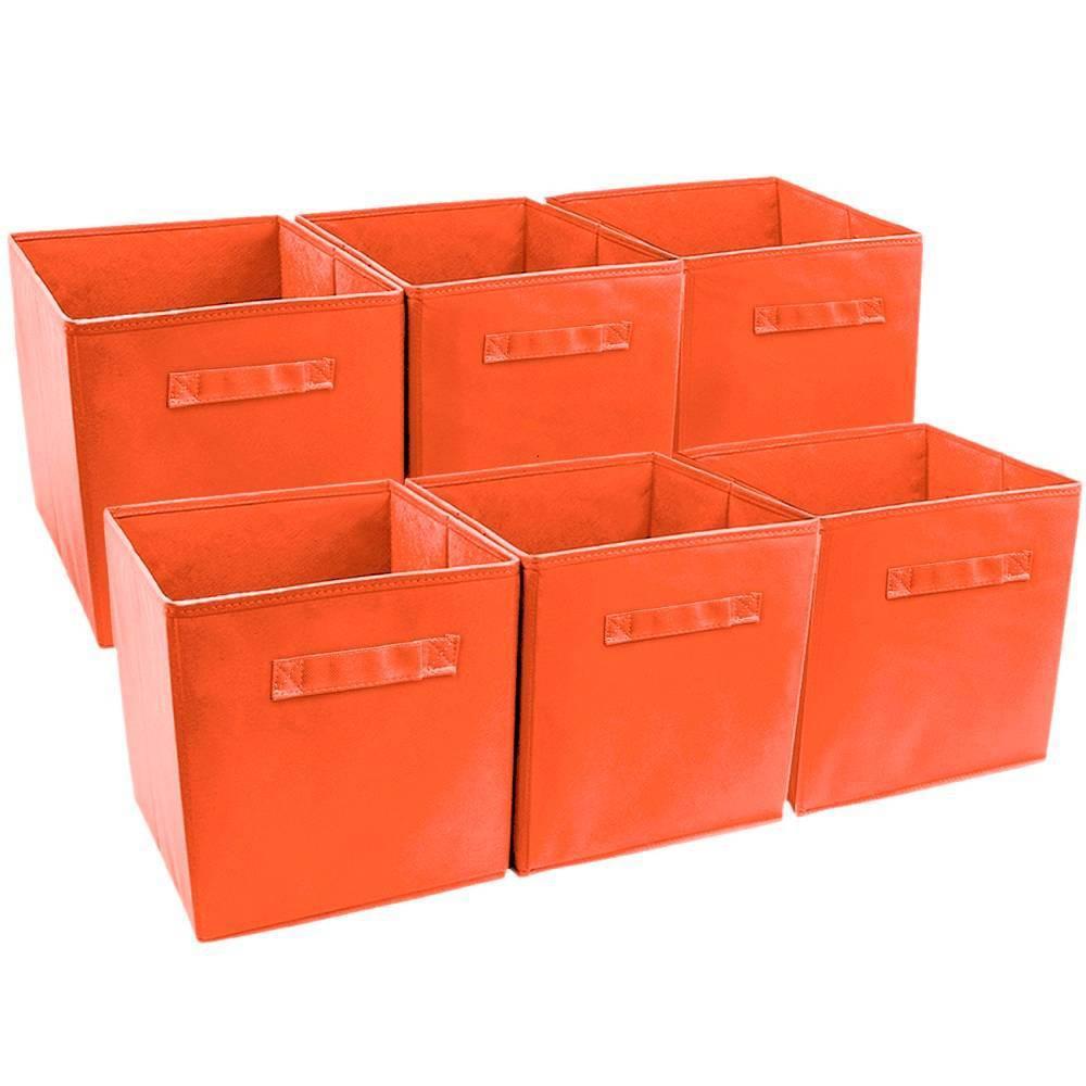 Image of Sorbus 6pk Foldable Storage Cube Basket Bin Orange