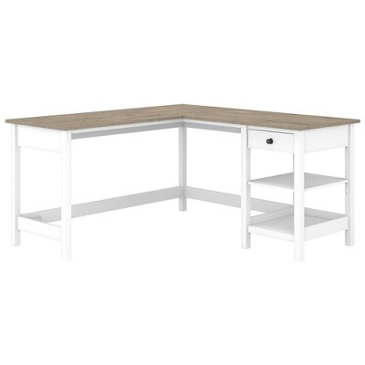 60W Mayfield L Shaped Computer Desk with Storage Shiplap Gray/Pure White - Bush Furniture