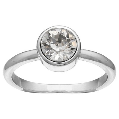 Solitaire Ring in Fine Silver Plate with Crystals from Swarovski - Clear/Gray (Size 8)