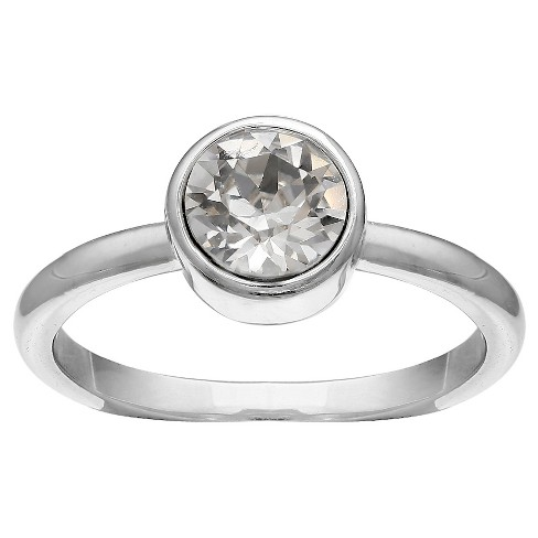 Solitaire Ring in Fine Silver Plate with Crystals from Swarovski - Clear/Gray (Size 8) - image 1 of 2