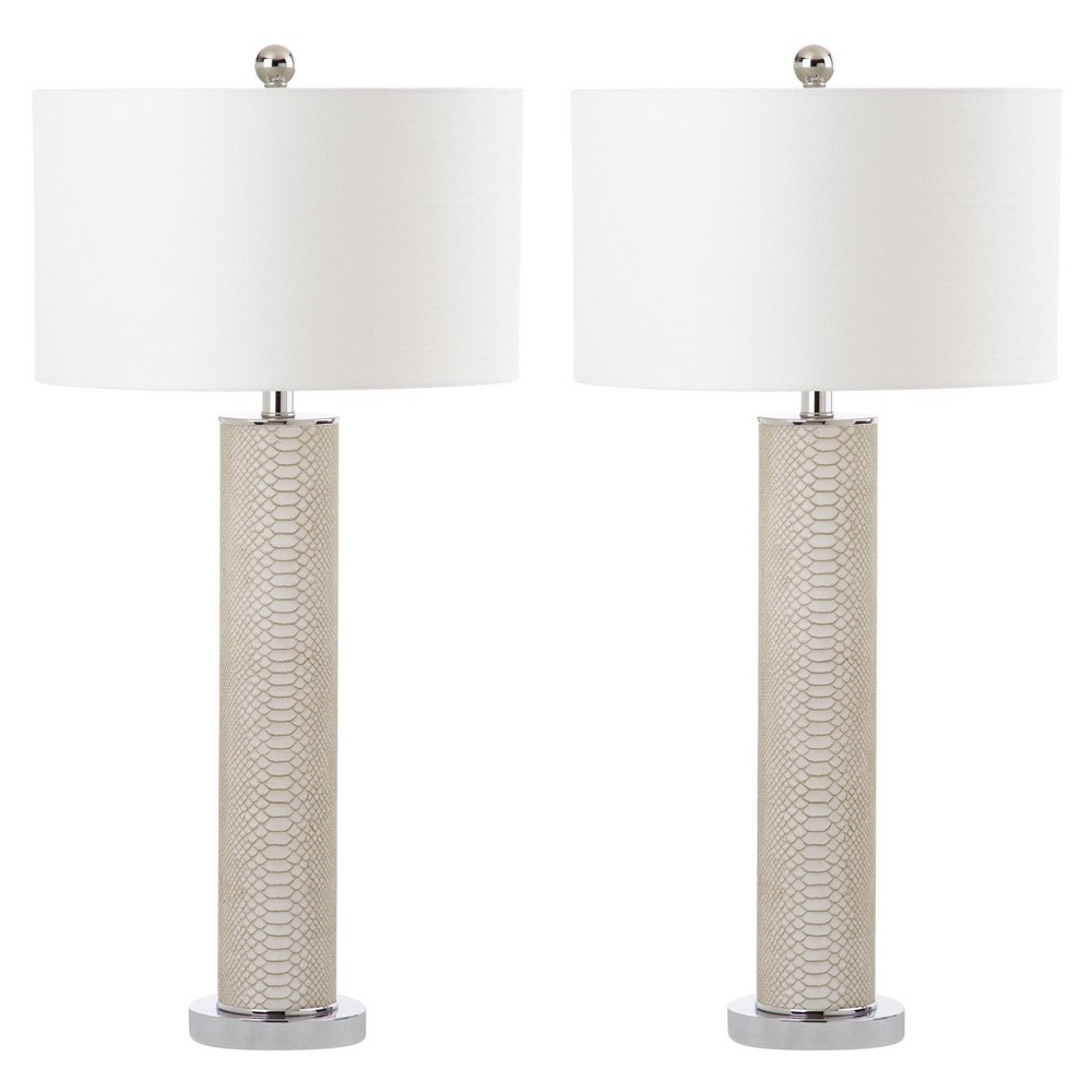 Image of Ollie Cream Faux Snakeskin Lamp Set of 2 - Safavieh, Ivory